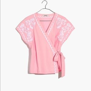 Madewell Embroidered Side-Tie Wrap Top